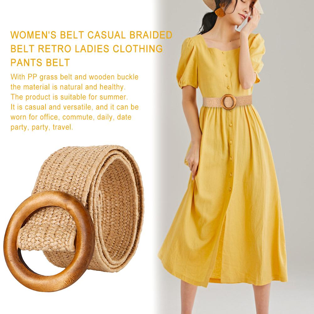 Braided   Belt   With Wooden Buckle Ladies Casual Solid Luxury Fashion 2019 Dress Summer High Quality Woven Women Straw   Belt   Wood