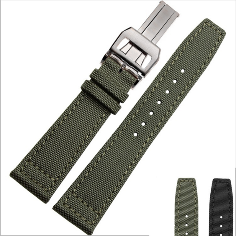 Genuine Leather Watch Strap 20mm 22mm Special Design Canvas Black Army Green With Silver Deployment Buckle Watchbands top grade vintage calfskin genuine leather watch strap 20mm army green tan dark blue green maroon black watchband with buckle