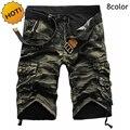 Verão 2016 Algodão Calças Largas Retas Multi-Bolso bermuda masculina Camuflagem Militar Do Exército Do Camo Shorts Da Carga Dos Homens Plus Size 29-38