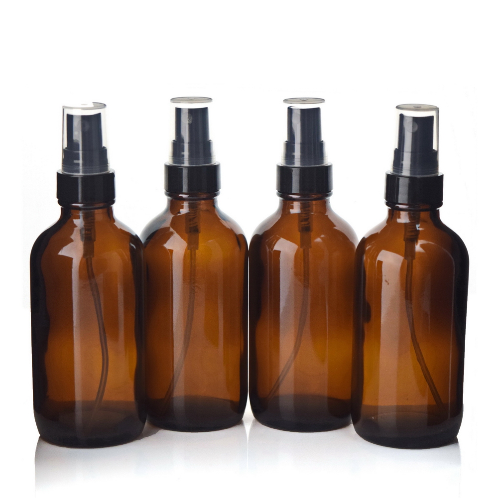 4pcs <font><b>120ml</b></font> Empty New 4 Oz Amber Glass <font><b>Spray</b></font> <font><b>Bottle</b></font> with Black Fine Mist Sprayer Atomizer for essential oils perfume aromatherapy image