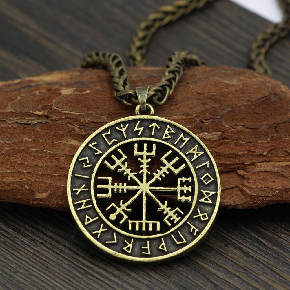 Viking Iceland Vegvisir Mũ Bảo Hiểm Kinh Dị Trong Runic Vòng Tròn Mặt Dây Chuyền Ma Thuật Staves La Bàn Rune Bùa Hộ Mệnh Collier Vòng Cổ