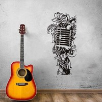 Floral Music Microphone Wall Stickers For Kids Room Baby Nursery Room Decor Music Equipment Vinyl Adhesive
