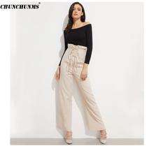 2019 Lace Up Wide Leg Pants Fashion High Waist Drawstring Work Wear Pants Office Lady Formal Slacks Elegant Ruffles Pantalones