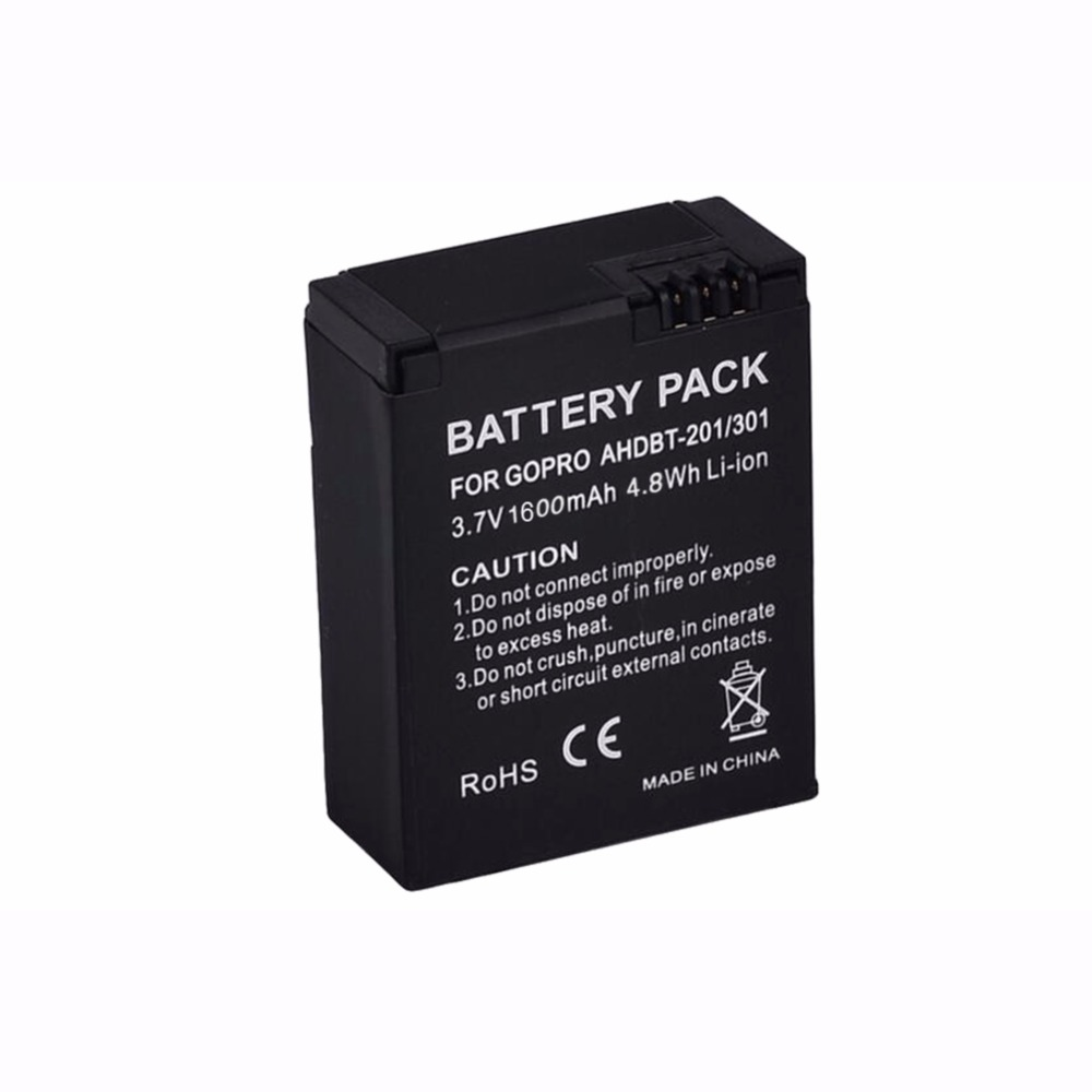 GTF 1PCS 3.7V 1600mAh AHDBT-302/301/201 <font><b>Battery</b></font> For <font><b>Gopro</b></font> <font><b>Hero</b></font> 3 3+ Camera OS478 image