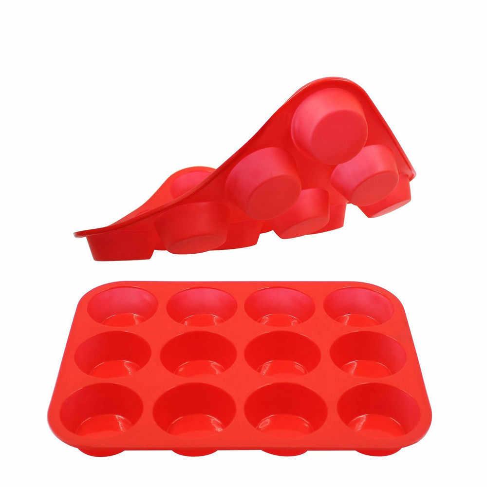 Silikonowe formy do pieczenia na muffinki 12 filiżanek silikonowe Muffin babeczki i Mini pieczenie ciast Pan nieprzywierająca zmywarka kuchenka mikrofalowa