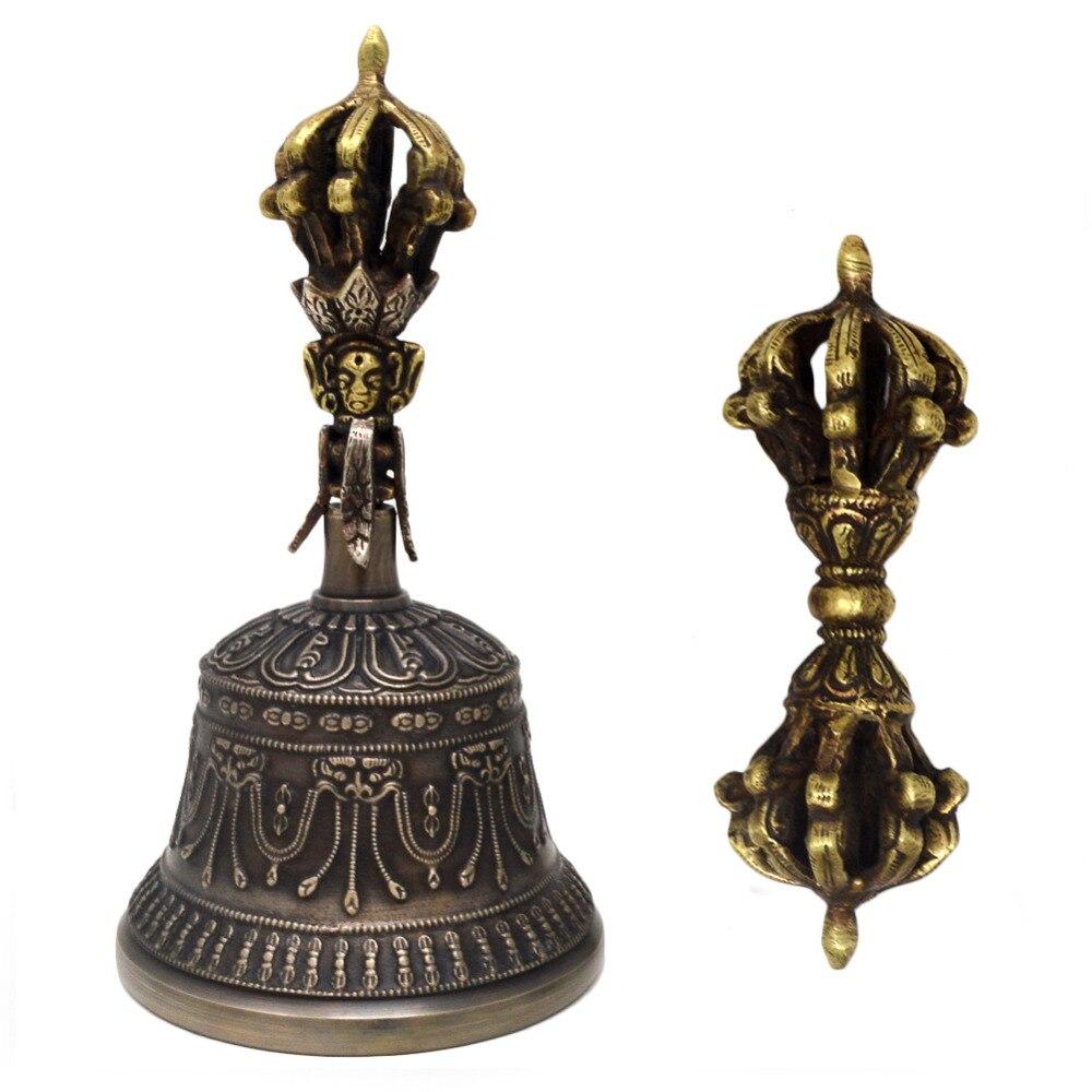 Feng Shui tibetano budista antiguo campana de cobre Dorje Vajra hecha a mano para los ritos budistas W3920 6 unids/lote atrapasoles de cristal Feng Shui prismas colgante péndulo colgante decoración de ventana 20mm