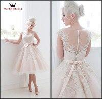 New Arrival 2016 Vestidos De Noiva White Ivory Short Wedding Dresses Real Sample Tulle Lace Knee