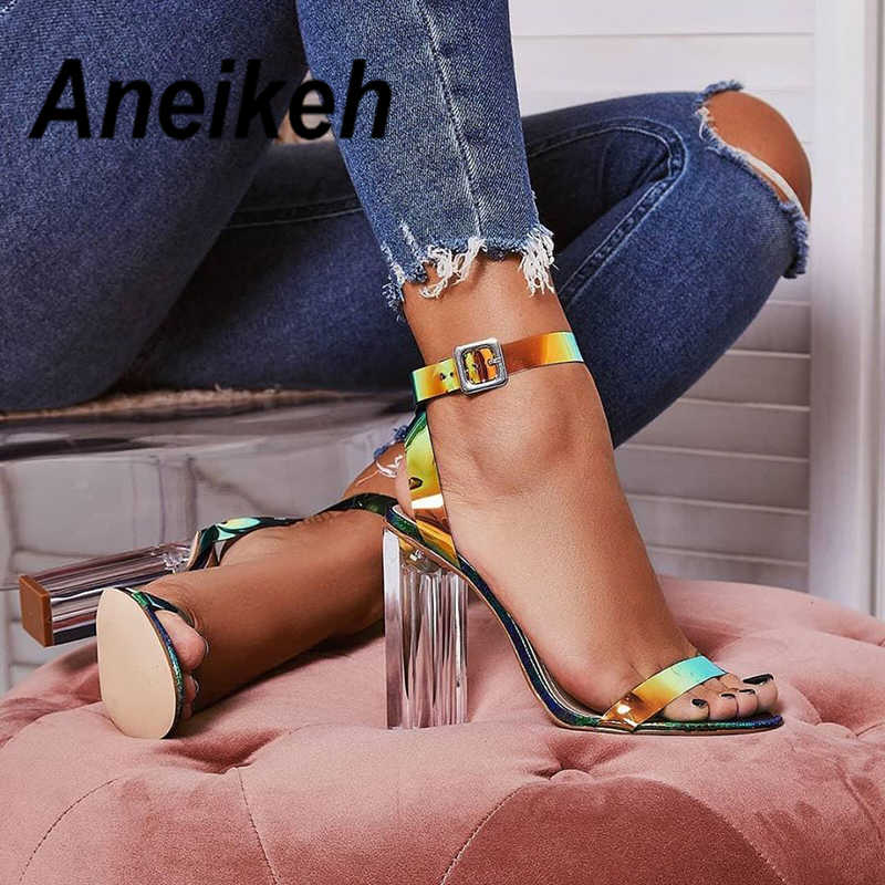 Aneikeh 2019 Summer New Ladies Sandals Fashion Sexy Colorful Word Buckle With Open Toe Crystal Square With High Heel Sandals