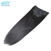 BHF Clip In Human Hair Extensions Straight Machine Made Remy 100% Chinese Full Head Hair Extension clips blonde 613#