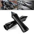 "Anodized Billet Spike 1"" Handlebar Hand Grip Black Motorcycle Cruiser Chopper"