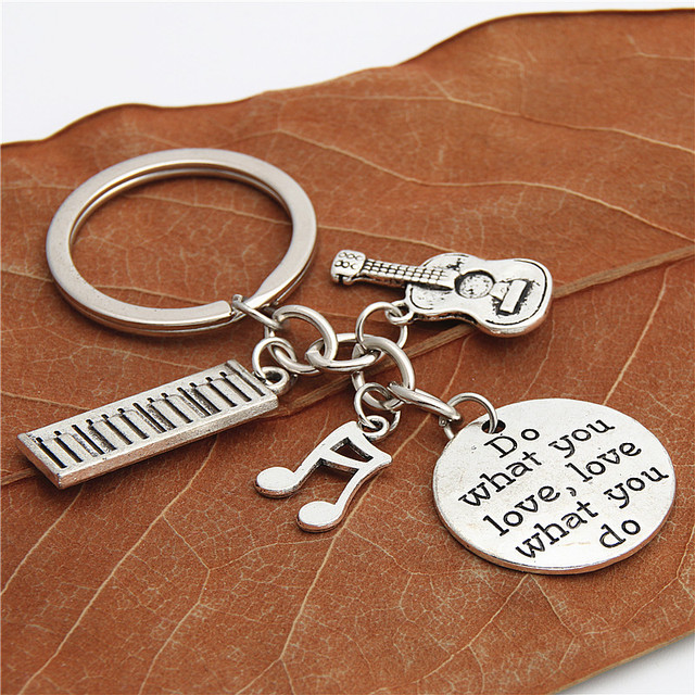 1pc Piano Teacher Keychains Musical Keyring Pianist Gift Music Note Guitar Charms For Handmade Jewelry Do What You Love E2039
