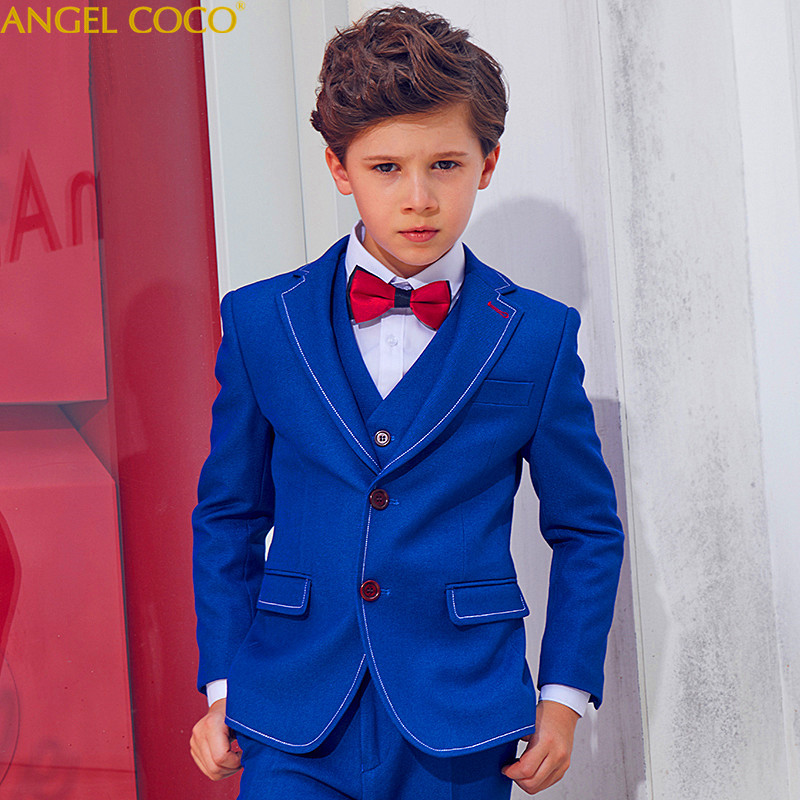 Bliue England 5 Pieces (Coat + Vest + Pants + Shirt + Bow Tie) Boys Suits For Weddings Boys Prom Suits Boys Clothing Blazer 2018