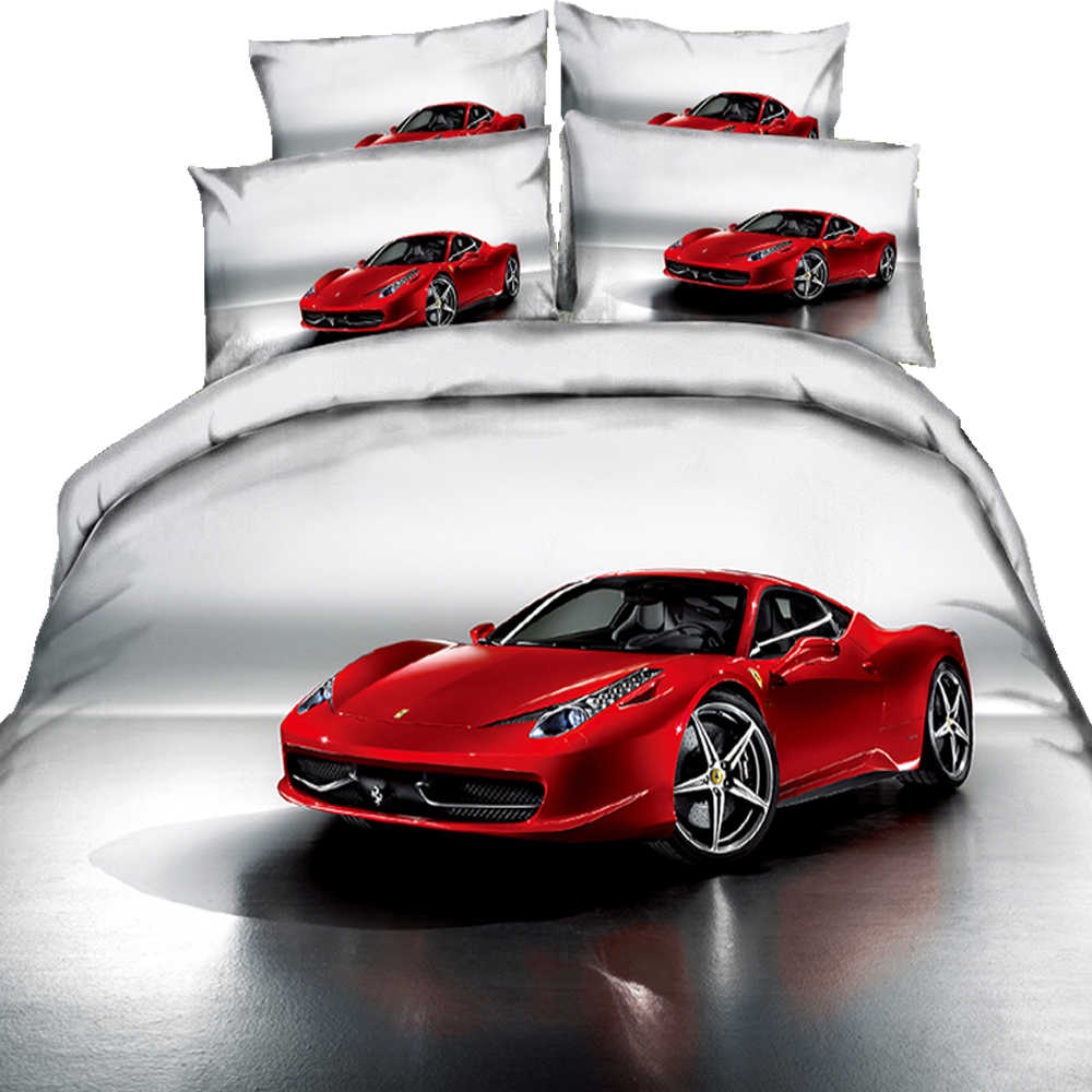 Cars Duvet Cover Set Twin Size Formula Race Car with The Driver Automobile Motorized Sports Theme Strong Engine 3/4 Bedding Set