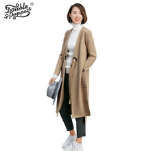 Double puppet 2016 New  autumn show thin European and American style solid loose cardigan long sleeve Windbreaker coats 363010