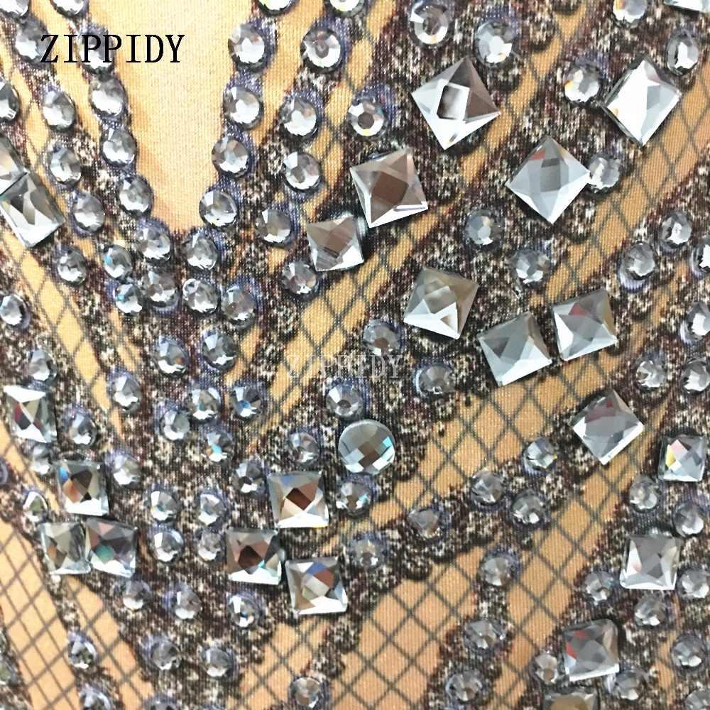 Модные черные кристаллы боди с имитацией обнаженного тела сексуальный клубный костюм для празднования вечеринок блестящие стразы эластичный купальник сценический Wea