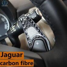 Адаптироваться к Jaguar XF XJ XE F-PACE F-TYPE аксессуары эмблема наклейки руль весла углеродного волокна внутренняя отделка