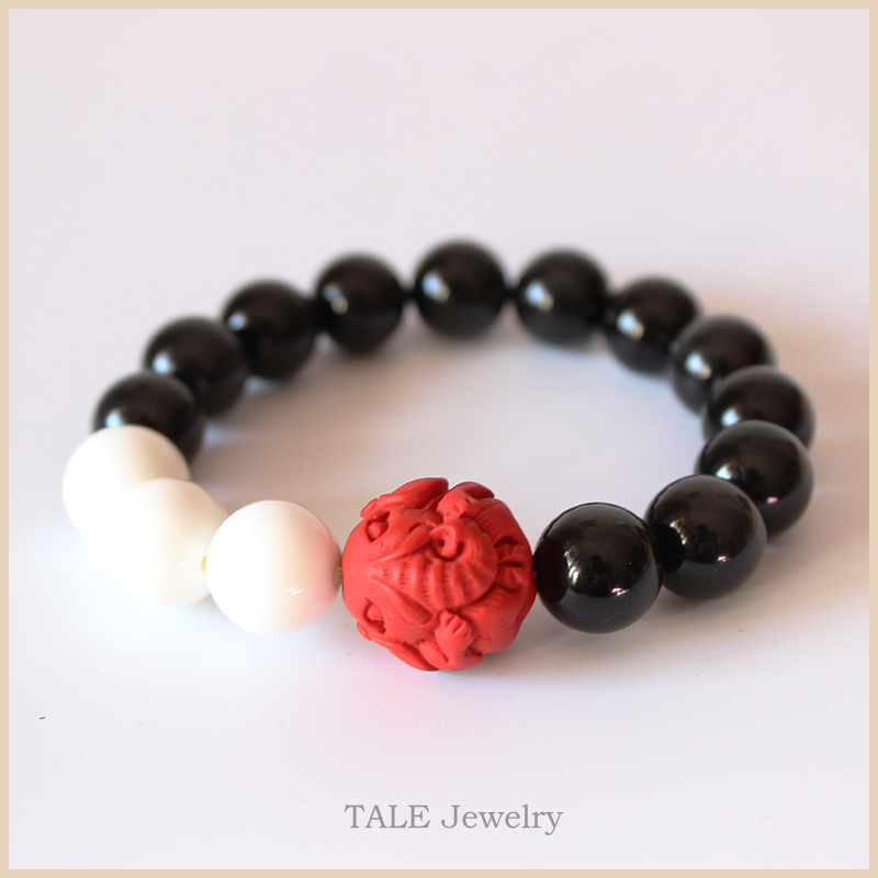Venta al por mayor Black Obsidian Mother Of Pearl Red Cinnabar Tallado Elephant Beads Stretch Bracelet Chinese Traditional Lucky Jewelry