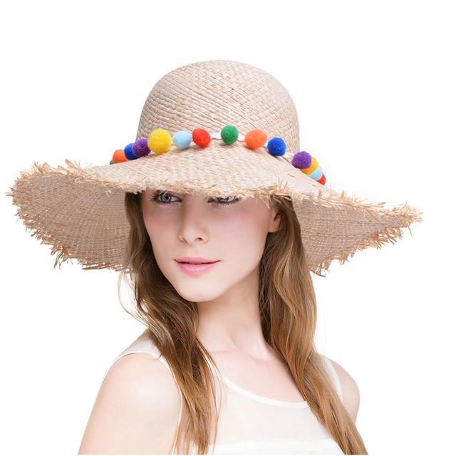babf9ea4bc6 Sun Hats for Women New Rainbow pom pom trim Natural Raffia Woven straw Wide  brim Kentucky derby floppy beach sun hat A417
