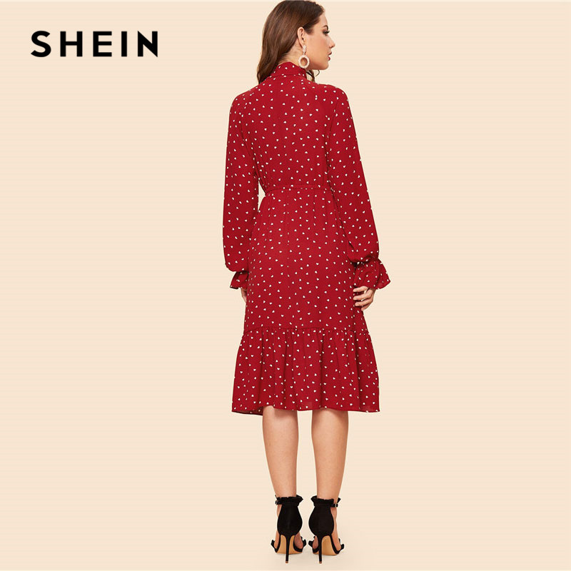 666bc690 SHEIN Tie Neck Allover Heart Print Ruffle Hem Midi Dress Women Vintage  Stand Collar Flounce Sleeve Burgundy Long Dresses-in Dresses from Women's  Clothing on ...