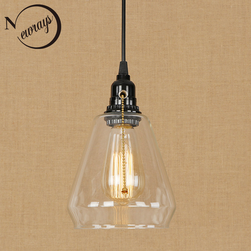 Modern loft black glass pendant light LED E27 vintage simple hanging lamp with switch for living room lobby restaurant bedroom industrial art deco iron black pendant light led e27 loft vintage hanging lamp with switch for living room restaurant bedroom