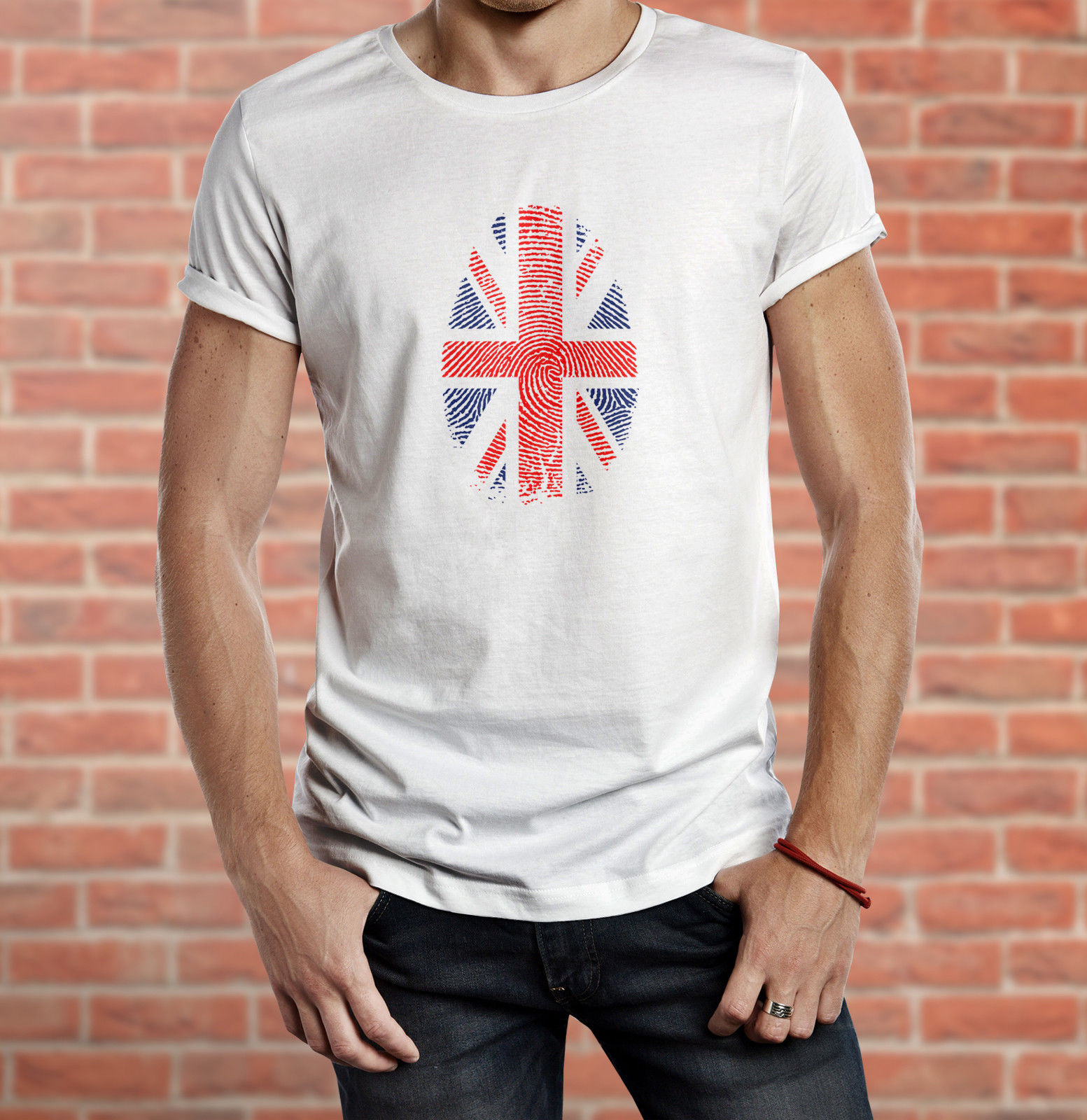 UNION JACK FLAG GREAT BRITAIN U.K. ENGLISH ENGLAND FINGER PRINT T-SHIRT TEE TOP