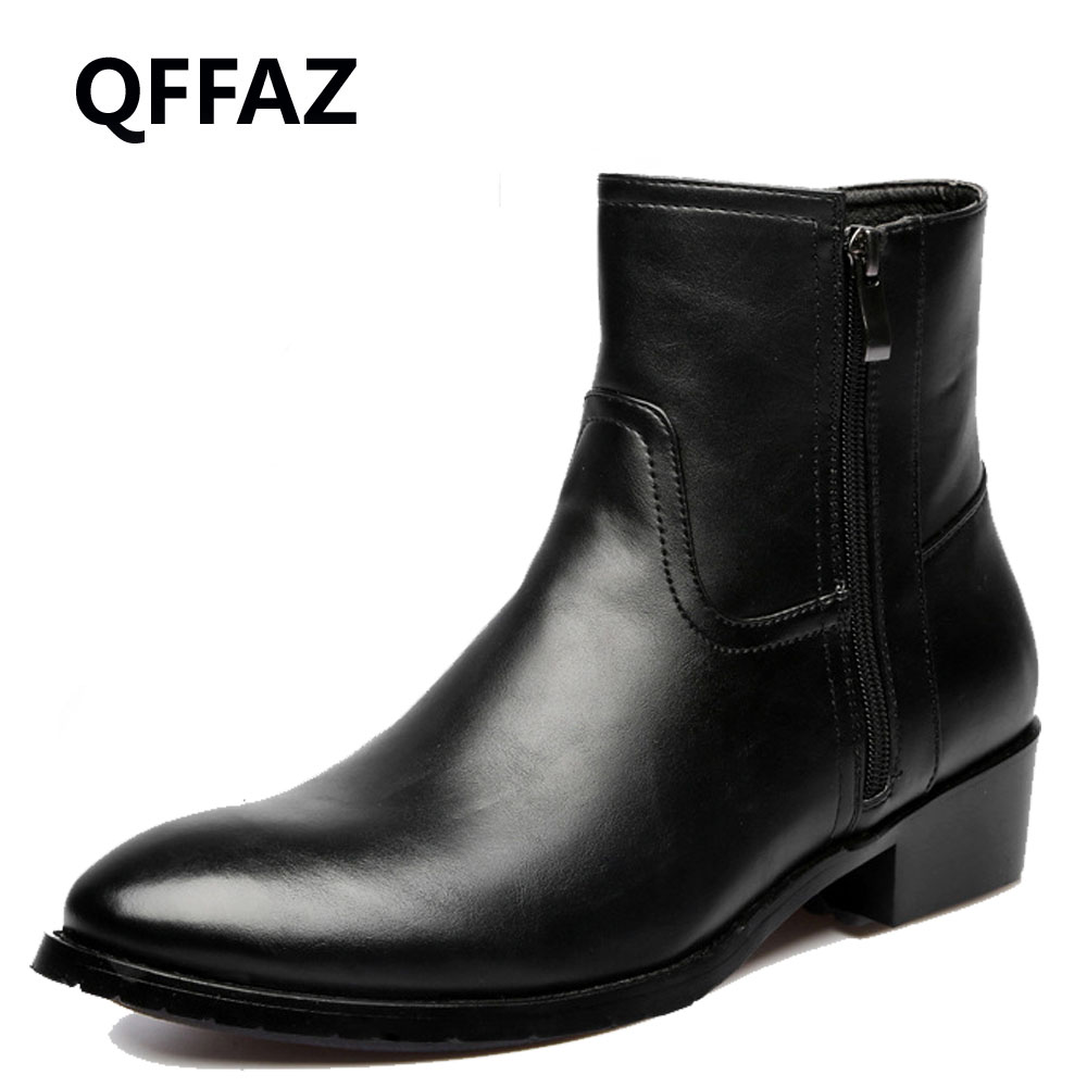 QFFAZ British Style Warm Winter genuine leather flat ankle boots men s winter leather shoes plush