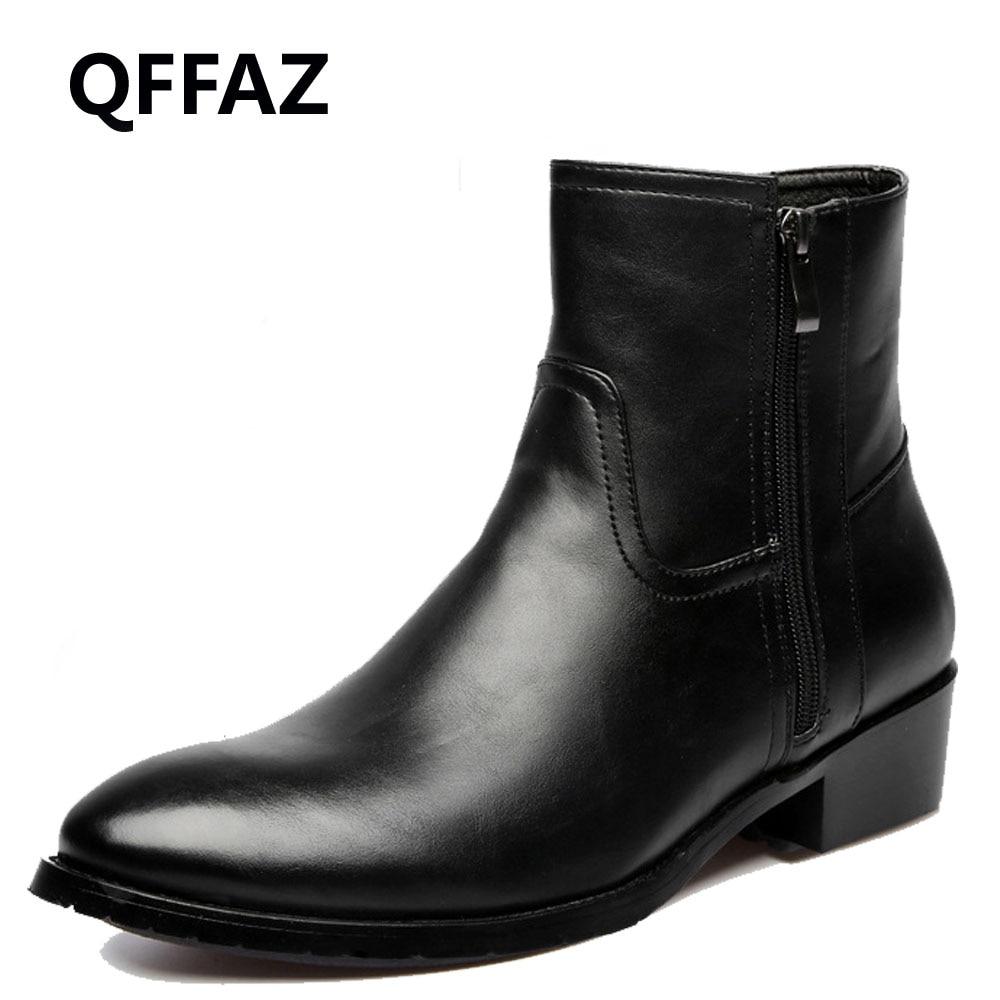 QFFAZ 英国スタイル暖かい冬の本革フラットアンクルブーツメンズ冬の革の靴ぬいぐるみは男性ブーツビッグサイズ 38 46  グループ上の 靴 からの ベーシックブーツ の中 1