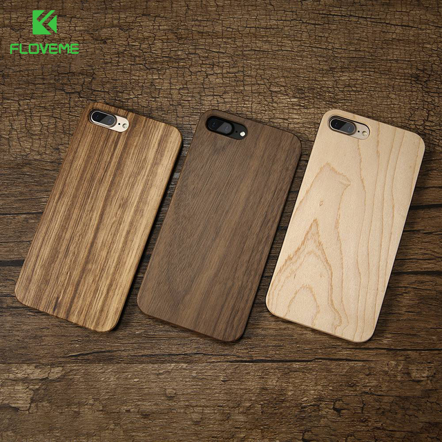 sale retailer 77a6d 35d87 US $4.59 8% OFF|FLOVEME Wood Cover For iPhone 7 iPhone X XR XSMAX Case  Natural Bamboo Wooden Phone Cases For iPhone 8 6 6S Plus 5S SE 5 Fundas -in  ...