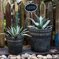 Garden Decoration Courtyard African elements vintage cement Flower Pots Black Concrete Decorative Utensils Ornaments
