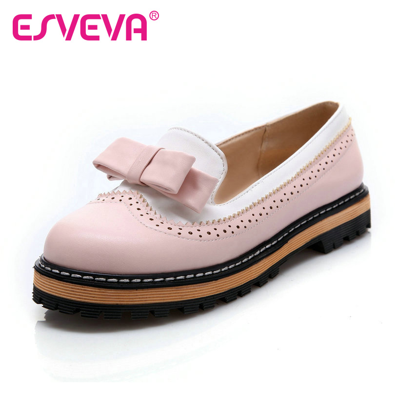 ESVEVA Spring/Autumn Slip On Round Toe Flat Women Shoes Mixed Color Lace Shallow Mouth PU Soft Leather Miss Shoes Size 34-43Pink сувенир акм брелок матрешка h 4см дерево 104 2150