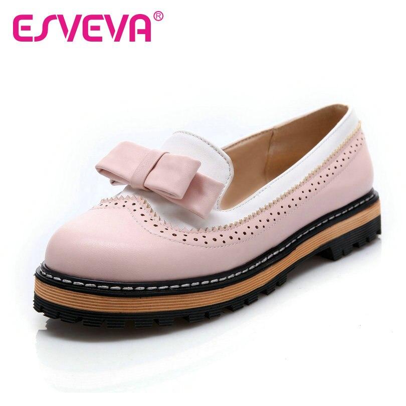 ESVEVA Spring/Autumn Slip On Round Toe Flat Women
