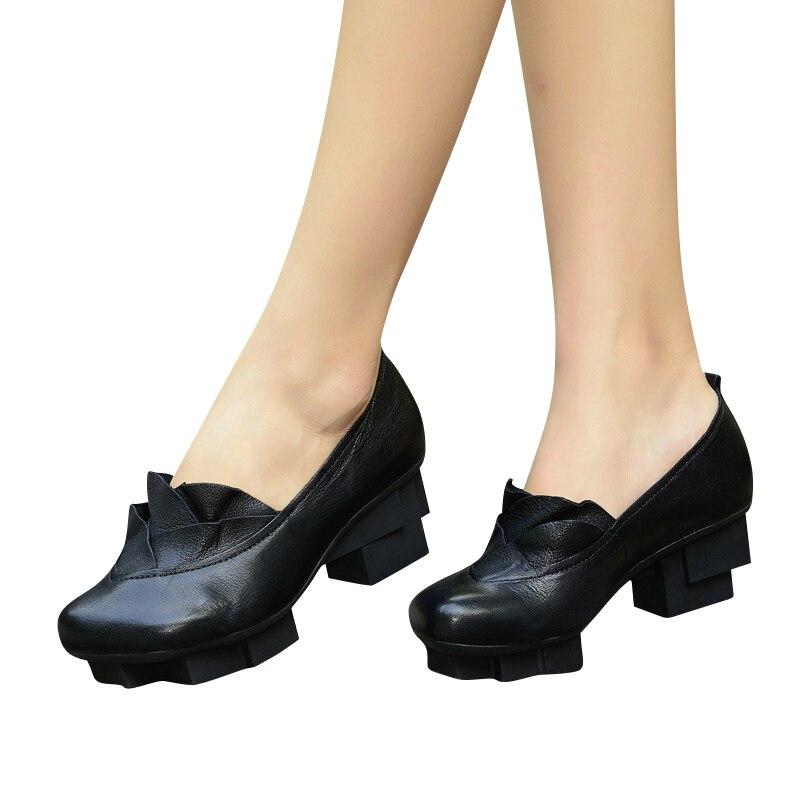 Pompes Xiangban Talon En Véritable Pointu Élégant Talons 2018 Chaussures Plate Carré Noir 1236d2 Bout Cuir forme Femmes T7rTqw