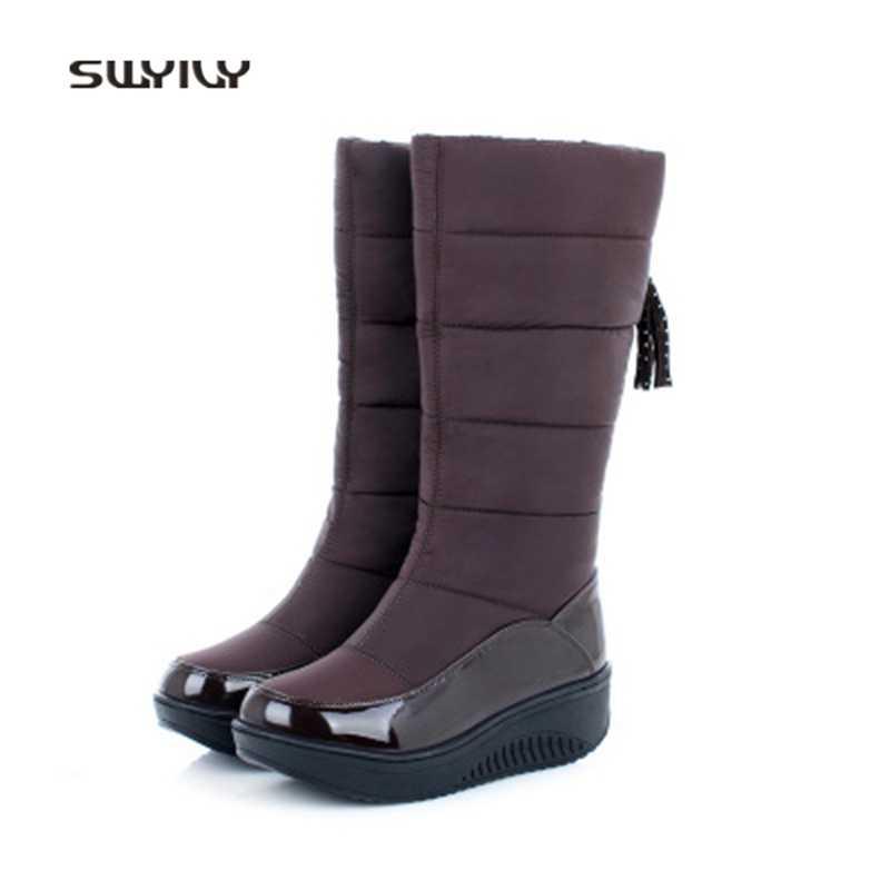 SWYIVYผู้หญิงS Limmingรองเท้ากันน้ำข้นพลัสกำมะหยี่รองเท้าสูง2018ใหม่ในช่วงฤดูหนาวแพลตฟอร์มหญิงปรับสีแกว่งรองเท้า
