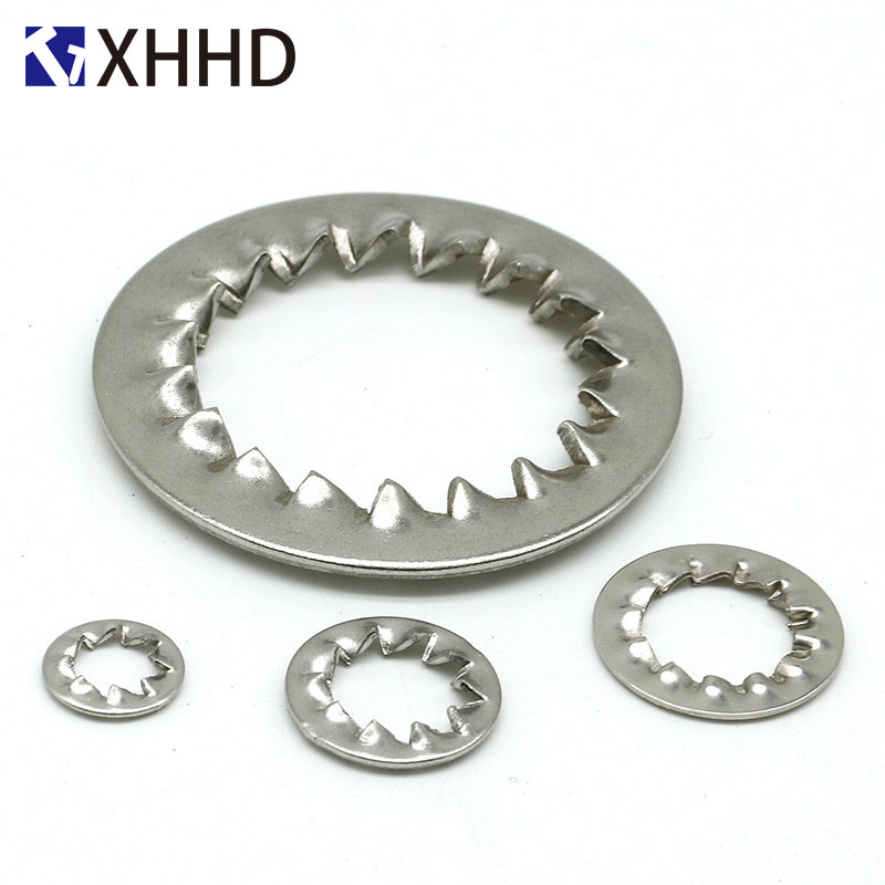 M4 M5 M6 M8 M10 M12 304 Stainless Steel External Serrated Lock Washers Assortment Set External Tooth Washers Silver,6 Size 270Pcs