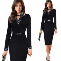 Autumn Winter Women Business Casual Sliming Pencil Sexy Deep V Neck Dresses Elegant Long Sleeve Office