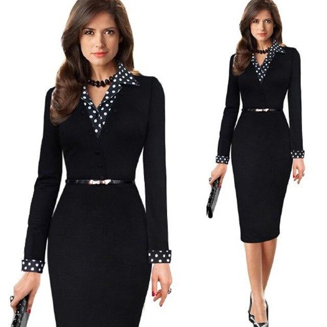 Женщины Офисная одежда С Длинным Kleider Элегантный 2016 Дамы Карандаш Bodycon Платья Носить На Работу Бизнес Платья Костюм V-образным Вырезом