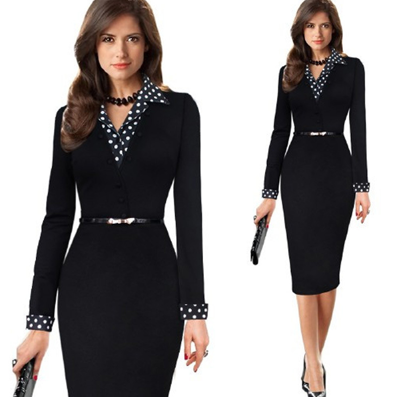 Women One-Piece Polka Dot Office Dress Long Kleider Elegant Lady Pencil Bodycon Vestidos Wear To Work Business Dress Suit V-neck