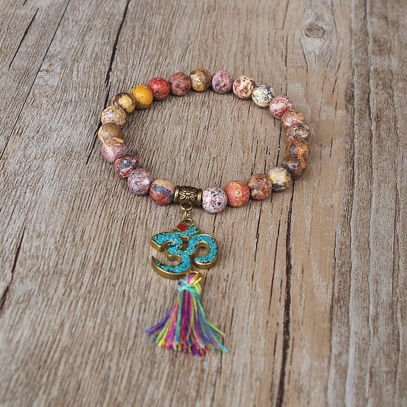 Handmade Tibetan Buddhism Natural Stone Chakra Mala Bracelet 1