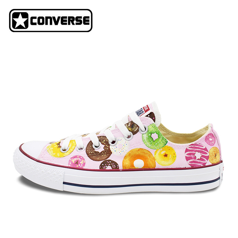 Low Top Converse All Star Women Men Shoes Custom Original Design Pink Donut Hand Painted Shoes Canvas Sneakers Christmas Gifts women men converse all star canvas shoes vocaloid hatsune miku expo design hand painted sneakers skateboarding shoes gifts
