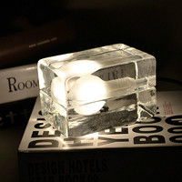 Modern Ice Cube Glass Table Light Desk Night Switch Lamp Night Lights Home Bedroom Decoration