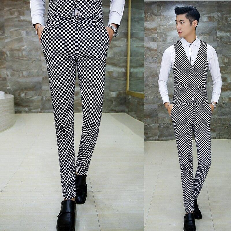 Plaid Mode 2 Casual Fit Doux Designs Costumes Automne Costume Pantalon Dernières Mens Manteau Belle Slim Tuxedo Velours Hommes Hiver Pcs w8wfCq4