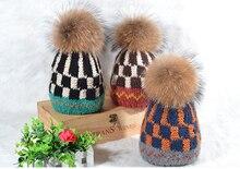 Супер Меха Волосяной луковицы Милые женская Мода Зима Теплая Шапочка Ручной Вязки Hat Cap