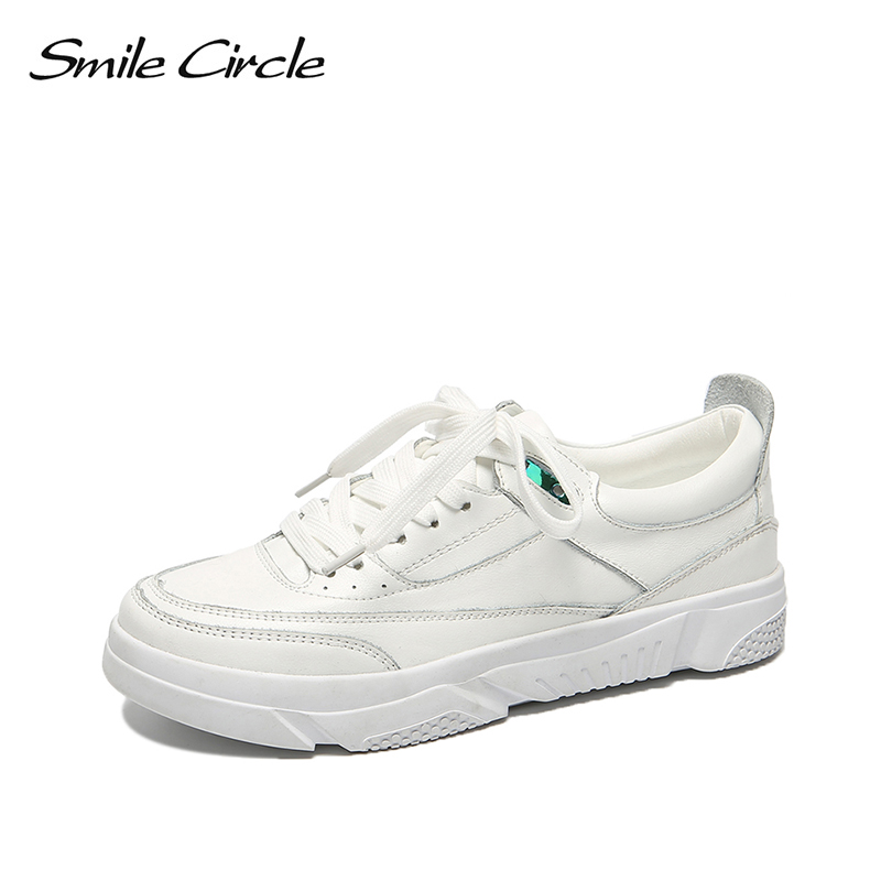 Smile Circle white Shoes Women Sneakers 2019 Spring Breathable Genuine Leather Flat platform Soft bottom casual