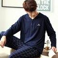 Мужские Пижамы Осень Зима С Длинным Рукавом Домашняя Одежда 100% Хлопок Плед Пижамы Мужчины Lounge Pajama Наборы Плюс размер 3XL пижамы