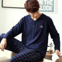 Men S Pajamas Autumn Winter Long Sleeve Home Wear 100 Cotton Plaid Pyjamas Men Lounge Pajama