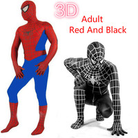 Adult Black Red Amazing Spiderman Costume 3D Printing Spiderman Cosplay Costume With Mask Spider Man Halloween