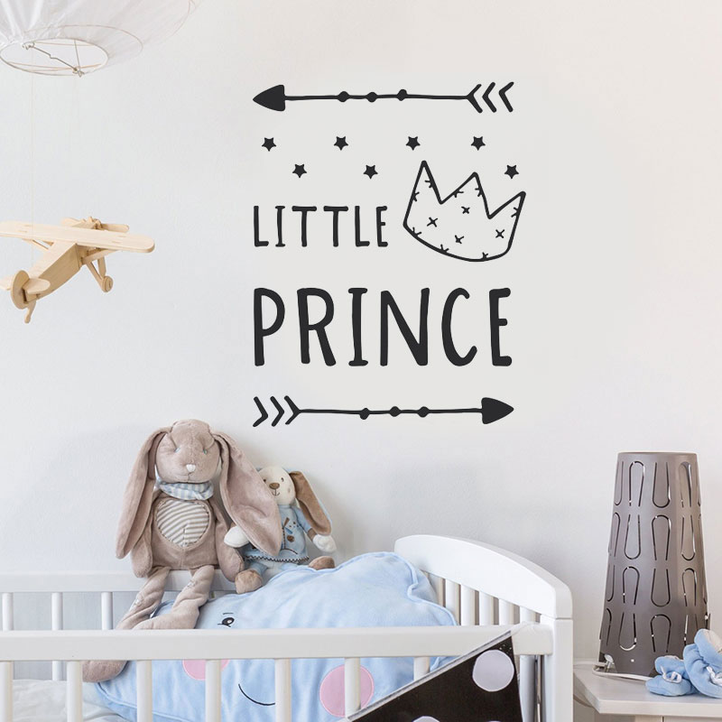 Cartoon Arrow Crown Little Prince Nursery Decor Star Wall Sticker Vinyl Home Decoration For Baby Room Self Adhesive Decals BO01 in Wall Stickers from Home Garden