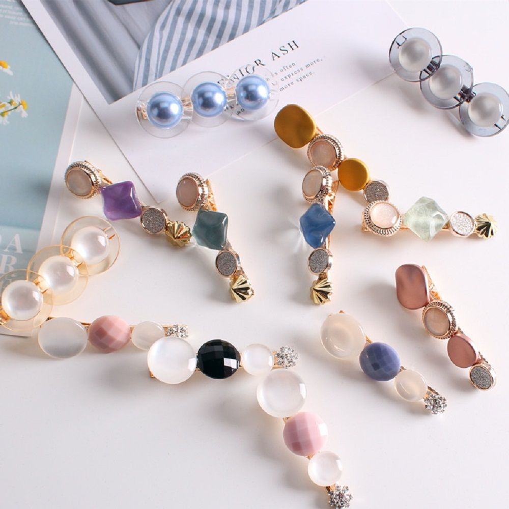 Colorful Grain Triangle Stone Hair Clips Barrettes Hairpin Acetic Acid