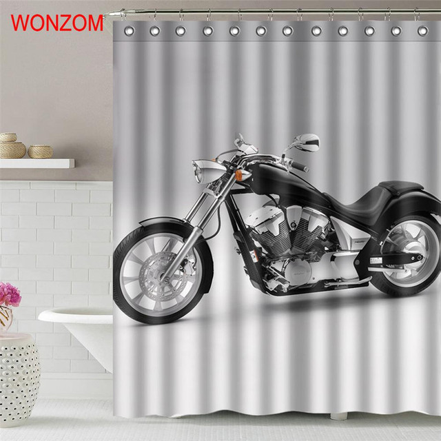 Wonzom Car Polyester Fabric Curtains With 12 Hooks For Bathroom Decor Modern Motorbike Bath Waterproof Curtain