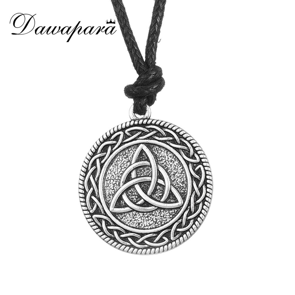 Dawapara Punk Knotwork Triquetra Trinity Fashion Rope Ethnic Necklace Women Vintage Accessories Pendant Wicca Pagan Jewelry